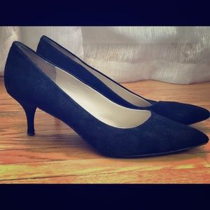 "Nine West 2"" black suede Kitten Heel, like new!"